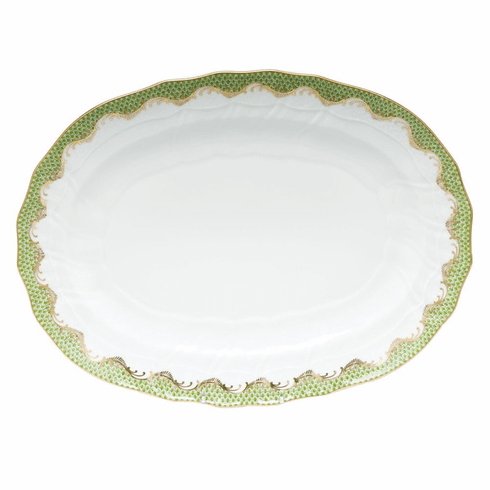 """Herend White With Green Border Platter 15""""L X 11.5""""W Evergreen"""