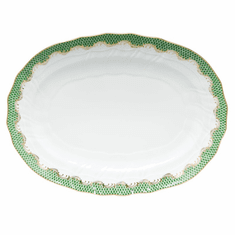 """Herend White With Green Border Platter 15""""L X 11.5""""W Jade"""