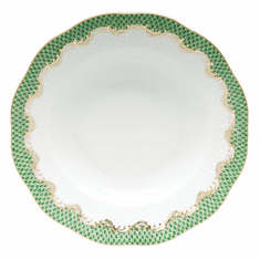 """Herend White With Green Border Rim Soup Plate 8""""D - Jade"""