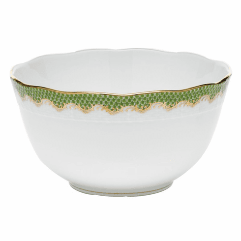 "Herend White With Green Border Round Bowl (3.5Pt) 7.5""D - Evergreen"