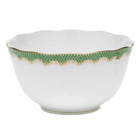 """Herend White With Green Border Round Bowl (3.5Pt) 7.5""""D - Jade"""