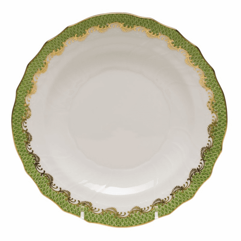 """Herend White With Green Border Salad Plate 7.5""""D - Evergreen"""