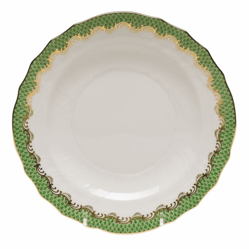 "Herend White With Green Border Salad Plate 7.5""D - Jade"