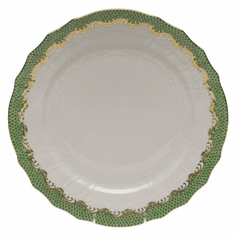 """Herend White With Green Border Service Plate 11""""D - Jade"""