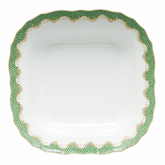 """Herend White With Green Border Square Fruit Dish 11""""Sq - Jade"""