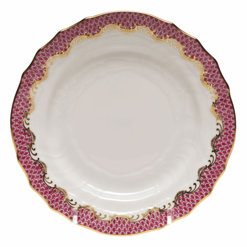 """Herend White With Pink Border Bread & Butter Plate 6""""D"""