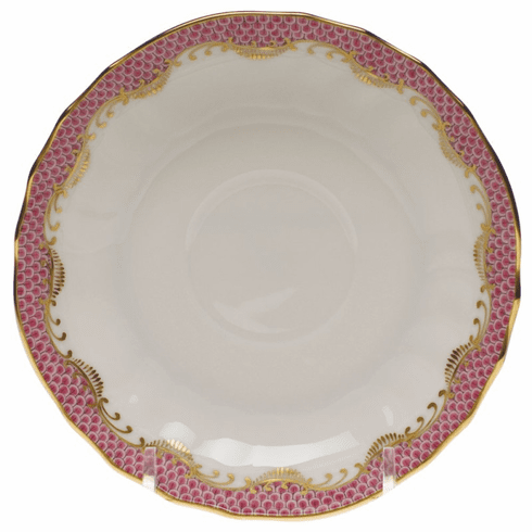 """Herend White With Pink Border Canton Saucer 5.5""""D"""