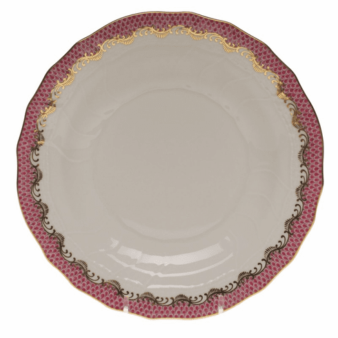 """Herend White With Pink Border Dessert Plate 8.25""""D"""