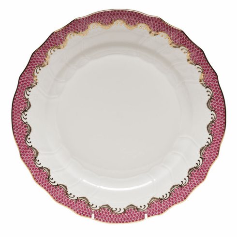 "Herend White With Pink Border Dinner Plate 10.5""D"
