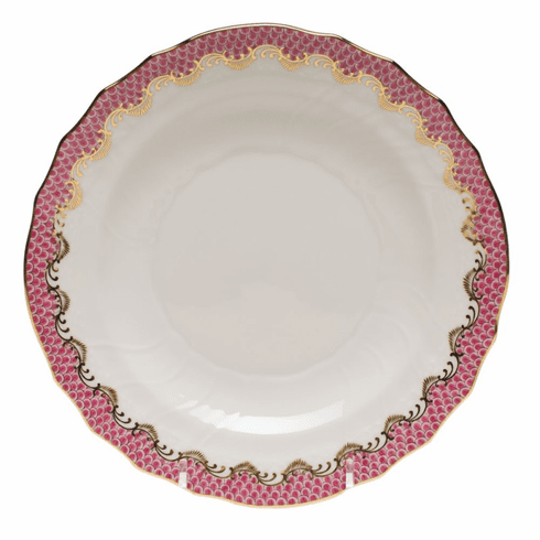 """Herend White With Pink Border Salad Plate 7.5""""D"""