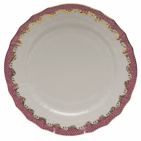 """Herend White With Pink Border Service Plate 11""""D"""
