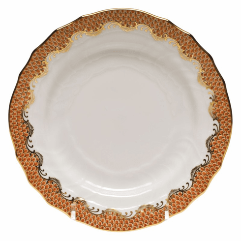 """Herend White With Rust Border Bread & Butter Plate 6""""D"""
