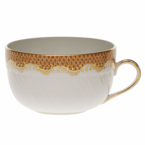 Herend White With Rust Border Canton Cup (6 Oz)