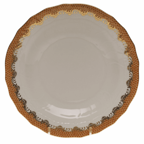 """Herend White With Rust Border Dessert Plate 8.25""""D"""