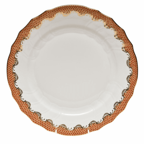 "Herend White With Rust Border Dinner Plate 10.5""D"