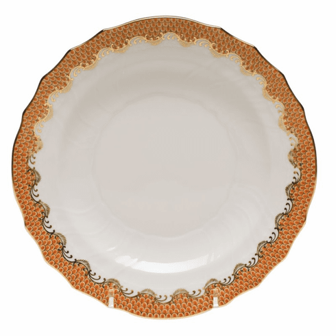 """Herend White With Rust Border Salad Plate 7.5""""D"""
