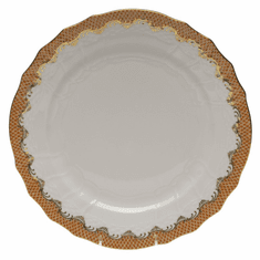 """Herend White With Rust Border Service Plate 11""""D"""