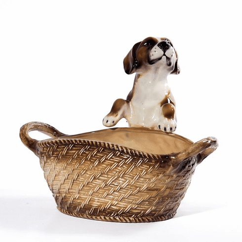 Intrada Italy Beagle with Basket Dog Statue
