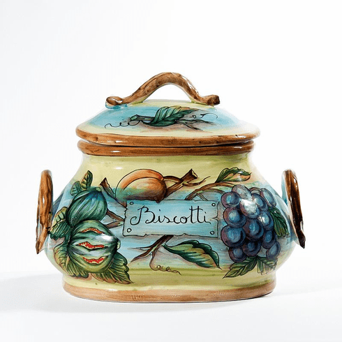 """Intrada Italy Biscotti Jar Fruits Oval with Handles 8.5""""H x 10""""W"""