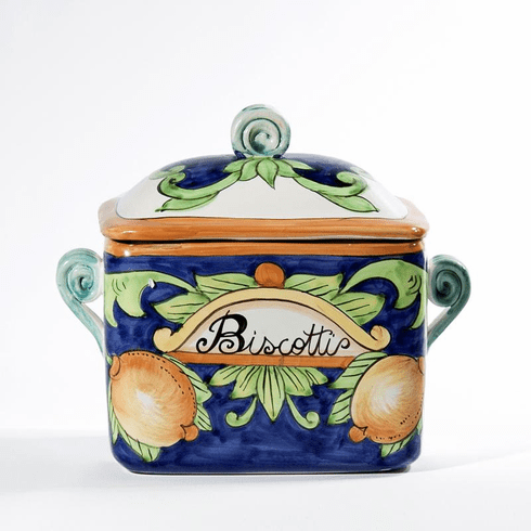 "Intrada Italy Biscotti Jar Rectangular with Lemons 8.5""H x 9.5""W"