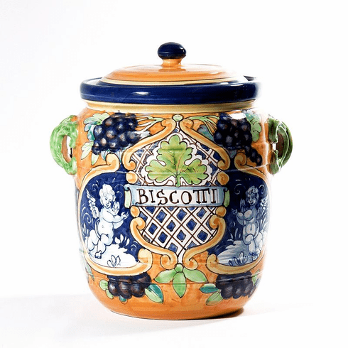 "Intrada Italy Biscotti Jar with Angels & Grapes 13""H x 10""D"