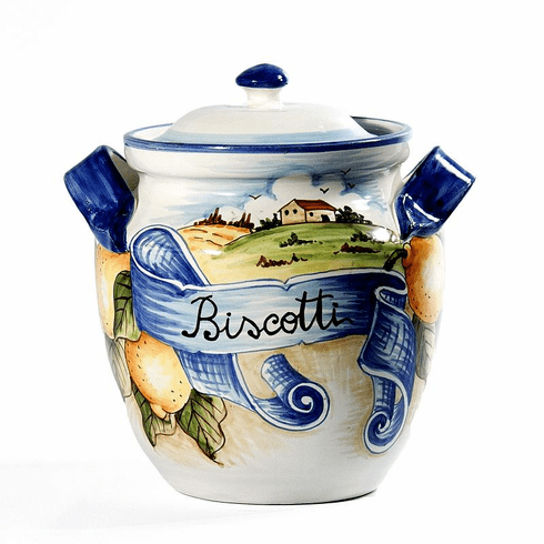 "Intrada Italy Biscotti Jar with Scenery 10.5""H x 9.5""W"