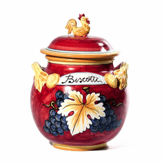 """Intrada Italy Biscotti with Rooster Handle Red 13""""H x 8""""L"""