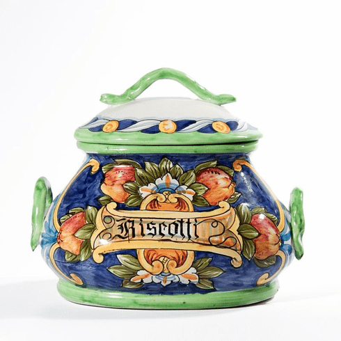 "Intrada Italy Blue Biscotti Jar 10""W"