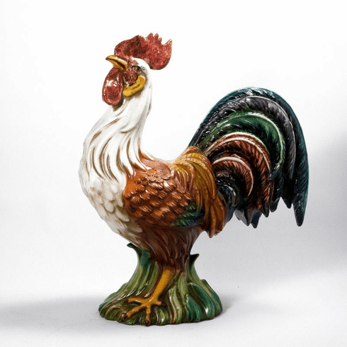 """Intrada Italy Campagna Colored Platinum 16"""" Rooster Statue"""