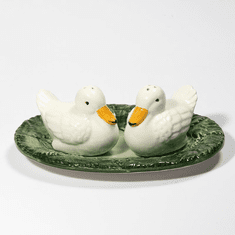 """Intrada Italy Duck Salt & Pepper with Plate 8""""L"""