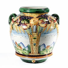 "Intrada Italy Four Window Scenes Large Urn 24""H"