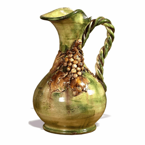 """Intrada Italy Large Pitcher with Grapes in Antique Green 20""""H"""