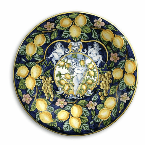 """Intrada Italy Large Wall Plate with Lemon & Grapes 21.5""""D"""