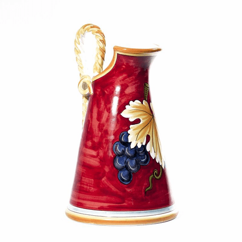 """Intrada Italy Pitcher with Rope Handles 15"""" Red"""