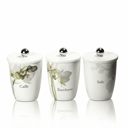 Intrada Italy Vivere Orchid Set of 3 Square Canisters