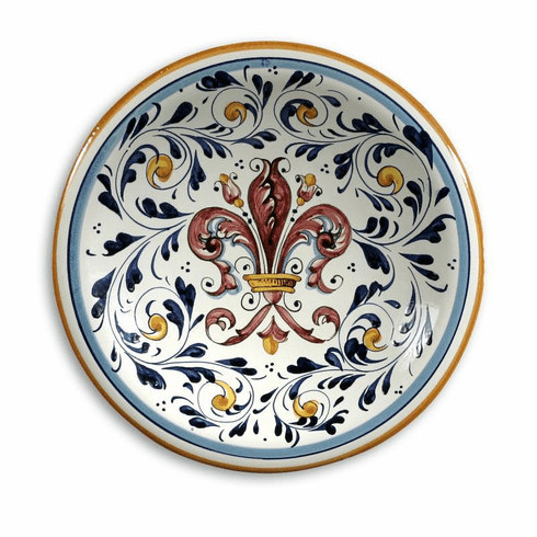 """Intrada Italy Wall Plate with Fleur de Lys Pink 11""""D"""