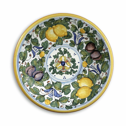 """Intrada Italy Wall Plate with Lemons & Plums Green 16""""D"""