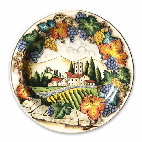 """Intrada Italy Wall Plate with Tuscan Scenery 25""""D"""