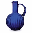Jan Barboglio San Juana Mouthblown Glass Acanalado Pitcher withlaurel Engraved Hand