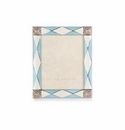Jay Strongwater Alex Argyle 3in. x 4in. Frame - Pale Blue