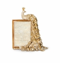 """Jay Strongwater Alexi Peacock Figurine 4"""" X 6"""" Frame, Golden"""