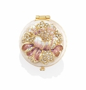 Jay Strongwater Angela Round Floral Compact