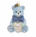 Jay Strongwater Baby's First Christmas Teddy Glass Ornament, Blue