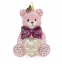 Jay Strongwater Baby's First Christmas Teddy Glass Ornament, Pink