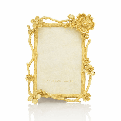 Jay Strongwater Breanna Floral Branch 4in. x 6in. Gold Frame