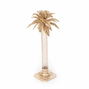 Jay Strongwater Delmont Palm Leaf Gilded Glass Candlestick- Gold