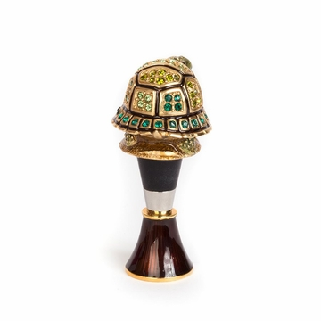 Jay Strongwater Evan Turtle Wine Stopper & Stand