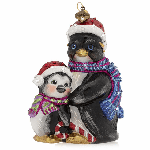 Jay Strongwater Father And Child Penguin Glass Ornament