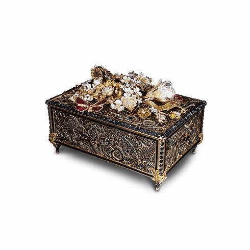 Jay Strongwater Genevieve Grand Floral Chest, Jet Crystal
