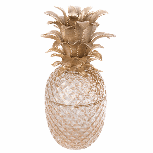 Jay Strongwater Giselle Pineapple Gilded Glass Jar- Gold